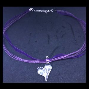 Purple String/Ribbon Necklace with Glass Heart